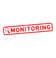 Grunge red monitoring word with magnifier icon vector