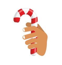 hand and candy cane arm holding christmas vector image