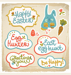 Happy easter decorative elements vector