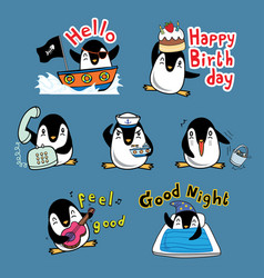 happy penguin action vector image