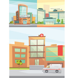 Hospital building cartoon modern vector