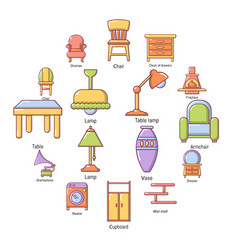 interior furniture icons set cartoon style vector image