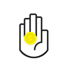 isolated black hand symbol holding yellow coin vector image