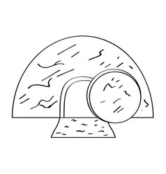 Isolated jesus tomb outline vector