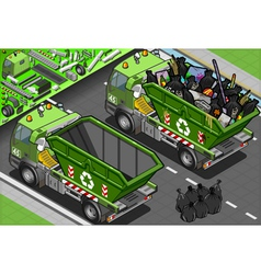 Isometric Garbage Truck with Container in Rear vector
