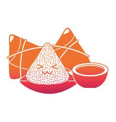 kawaii happy rice dumpling and sauce cartoon vector image