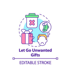Let go unwanted gifts concept icon vector