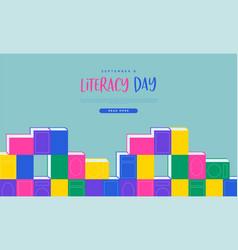 Literacy day web template book cartoon concept vector