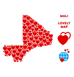 Lovely mali map collage of hearts vector