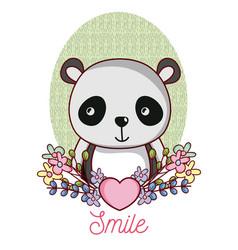 lovely panda cartoon vector image
