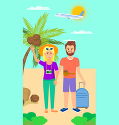man and woman on beautiful tropical background vector image