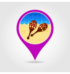 Maracas pin map icon Summer Vacation vector
