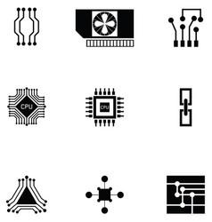 Microchip icon set vector
