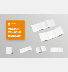 Mockup square tri-fold blank open and closed vector