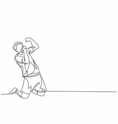 One single line drawing sporty young vector