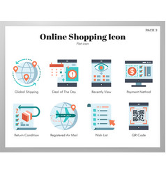 Online shopping icons flat pack vector
