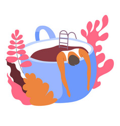 Personage swimming in cup coffee in morning vector