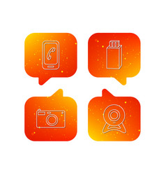 Photo camera mobile phone and usb flash icons vector