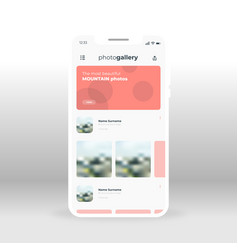 photo gallery ui ux gui screen for mobile apps vector image