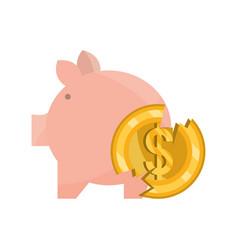Piggy bank and broken coin money stock market vector