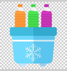 Portable fridge refrigerator with water bottle vector