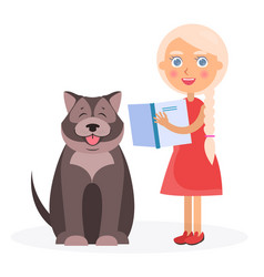 Pretty girl with book and tibetan mastiff on white vector