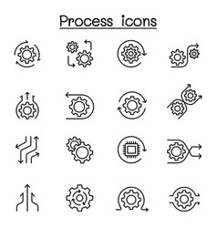 process icon set in thin line style vector image