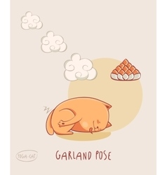 Red Yoga Cat in Garland pose vector image