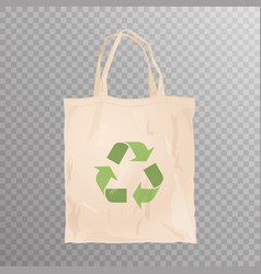 Reusable cloth bag with recycle emblem vector