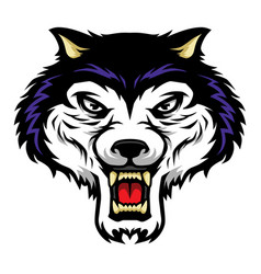 roaring wolf head mascot in cartoon style vector image