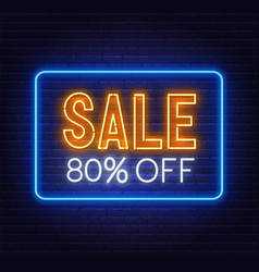 sale 80 percent off neon sign on brick wall vector image