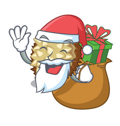 Santa with gift fruit marang is located in mascot vector