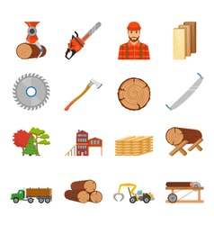 Sawmill Timber Icon Set vector