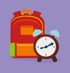 Schoolbag supply with alarm clock vector