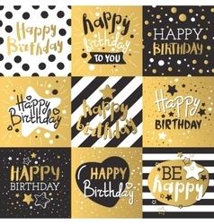 Set beautiful birthday invitation cards vector