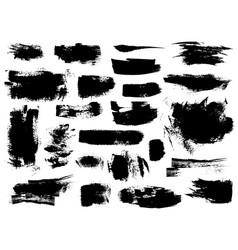 Set black brushstrokes vector