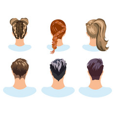 Set of different hairstyles woman and man vector