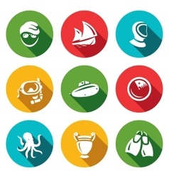 Set of Diving Icons Diver Ship Wetsuit vector image
