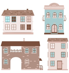 Set of four multistory houses vector