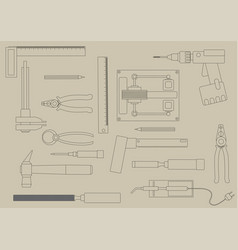 set of hand tools for productive work vector image