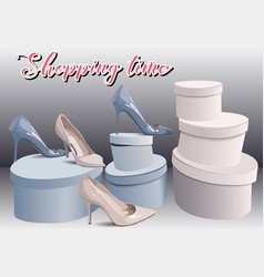 Shopping in shoes store fashion boutique can be vector