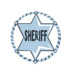 silver sheriff star badge american justice emblem vector image