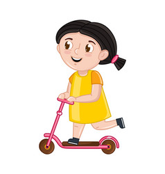 smiling little girl riding on kick scooter vector image