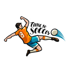 soccer player kicking ball sports concept vector image