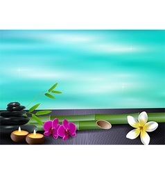 Stone wax flowers and bamboo blue sea background vector