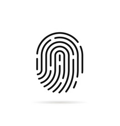 stroke fingerprint icon with shadow vector image