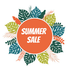 summer sale poster background with tropical vector image