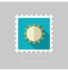 Sun flat stamp Summer Vacation vector image