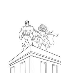 superhero couple roof watch line art vector image