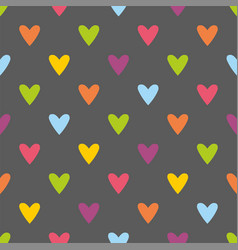 tile pattern with hearts on grey background vector image